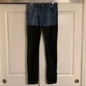 Joe's Jeans two-tone waxed skinny jeans
